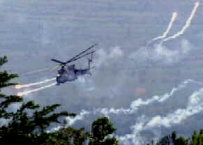 A Macedonian helicopter fires near village of Slupchane