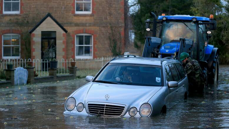 A Mercedes pulled from rising waters in Muchelney, Somerse