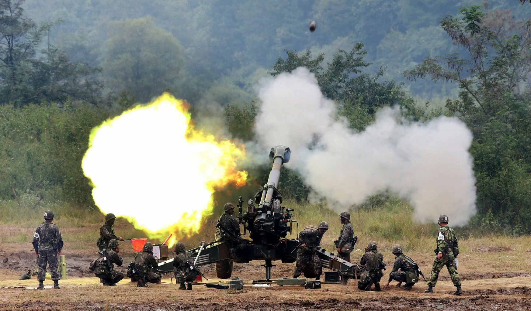 A South Korean army 155 mm howitzer fires in a live fire drill