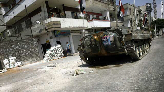 A Syrian military tank in the city of Homs