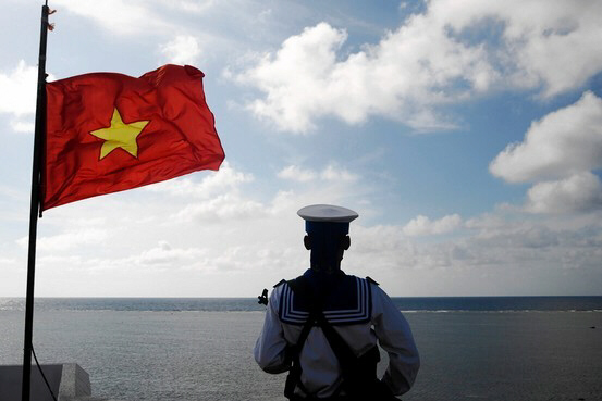 A Vietnamese naval soldier on one of the disputed islands