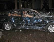 A car damaged from the Saturday blasts in Sharm el-Sheikh