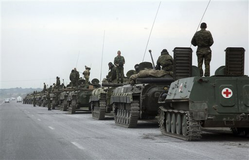 A column of Russian armored vehicles