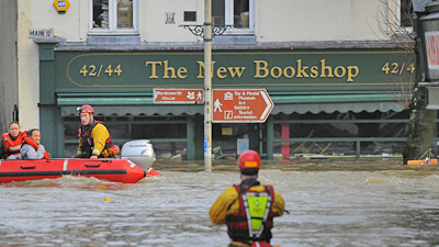 A flooded bookshop in Cockermouth