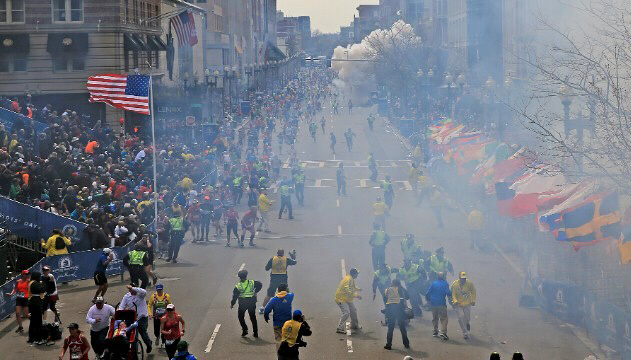 A second explosion goes off near the finish line at Boston Marathon