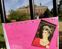 A tribute pinned to the Princess's former home, London's Kensington Palace
