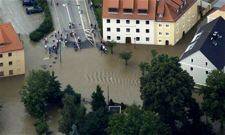 Aerial view shows the swollen Neisse river