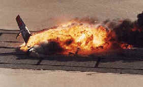 A burning inferno on the runway
