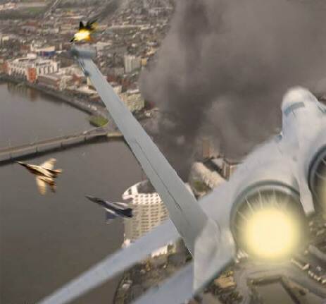 Air battle in US city