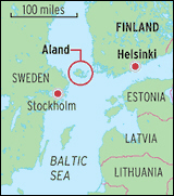 Location of Aland on Baltic Sea map