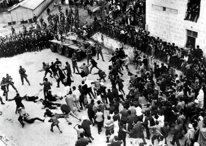 Algerians riot against the French