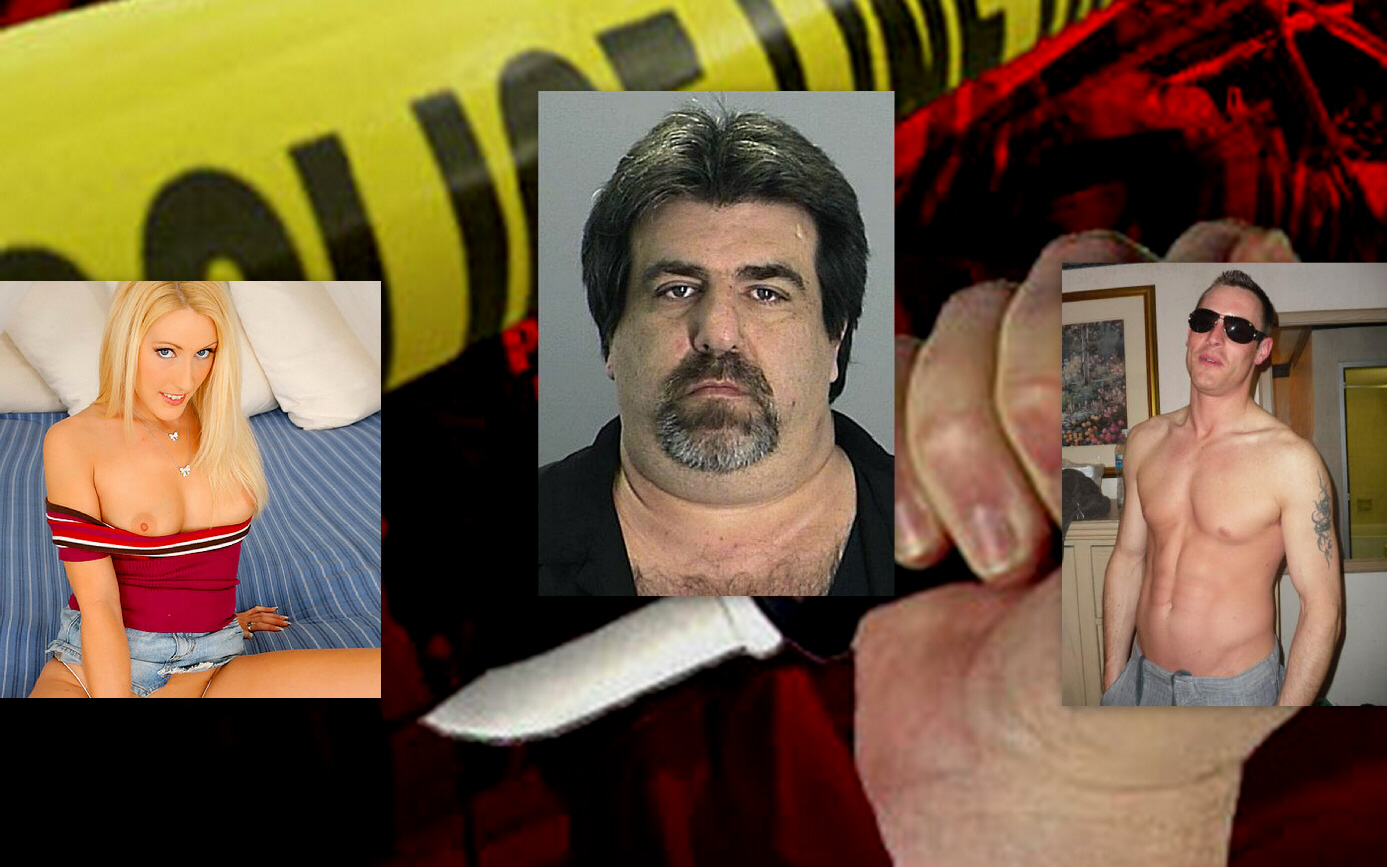 "Murderer Amanda Logue (left), murder victim Dennis ""Scooter"" Abrahamsen (centre), murderer Jason Andrews (right)"