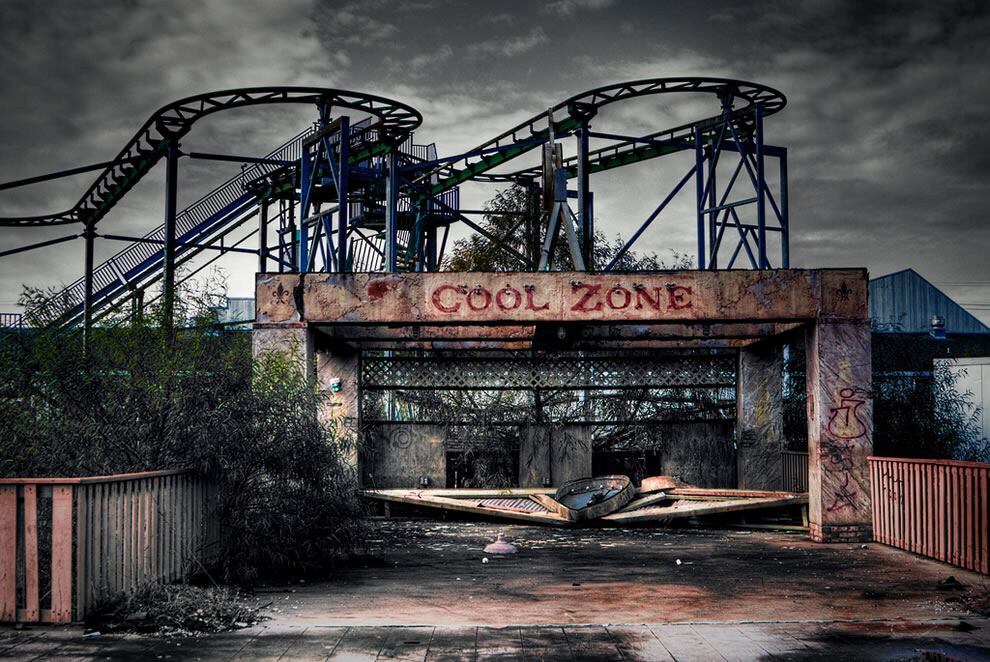 "Amusement park at abandoned Six Flags in New Orleans ... a zombie ""hangout"" until it was demolished earlier this year (2011)"