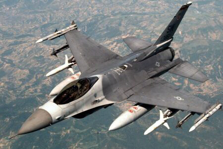 An Israeli F-16 carries out strike in Gaza
