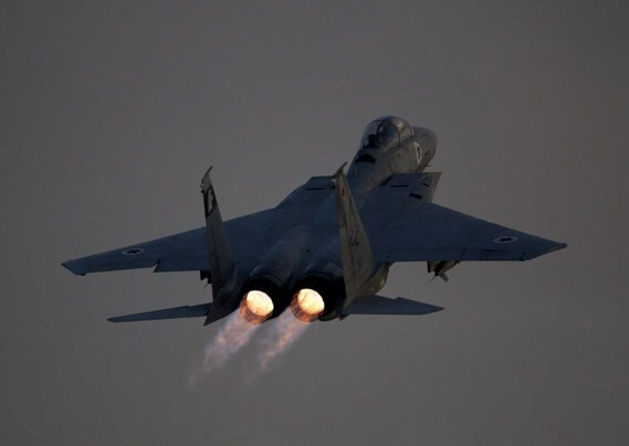 An Israeli air force F-15 Eagle jet fighter plane takes off