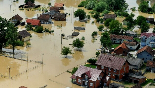 An aerial photo shows the flooding in Brcko, Bosnia