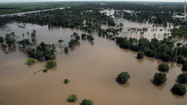 An aerial view shows flooding south of Guatemala City