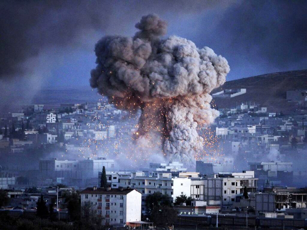 An explosion rocks the Syrian city of Kobani