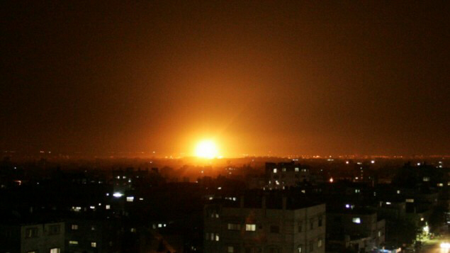 An explosion seen in the skies over Gaza Thursday night