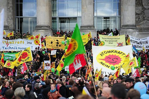 Anti-nuclear protestors march in front of the Reichstag