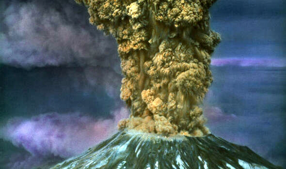 Artist impression of Mount St Helen's erupting again