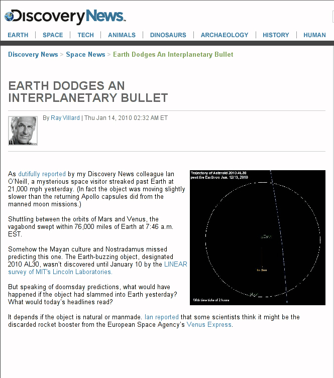 Asteroid 2010 AL30 misses earth by narrow margin