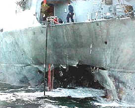 Gaping hole in USS Cole blown out by boat bomb