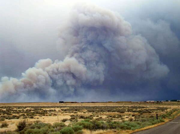 Baboon wildfire burning in southwestern Utah