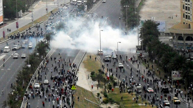 Bahraini police fired tear gas to disperse protesters demonstrating near Pearl Square on Sunday