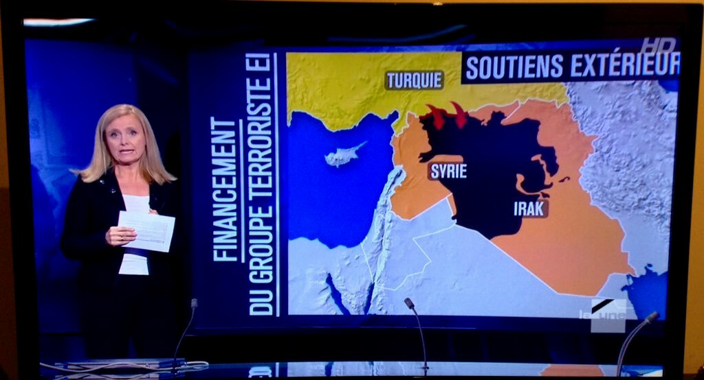Belgium TV and map of Turkey, Syria, Iraq