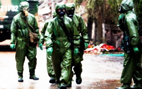 Biohazard troops enforce quarantine and martial law