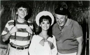 Bob Denver as 'Gilligan,' Dawn Wells as 'Mary Ann,' and Alan Hale Jr as 'The Skipper'