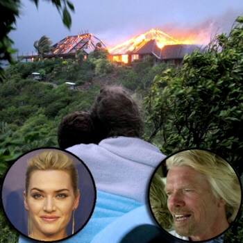 British entrepreneur Sir Richard Branson's luxury home, on Necker Island,in the Caribbean, is seen in flames as a fire which ripped through the luxury home on Aug. 22, 2011.
