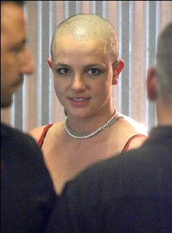 Britney Spears, bald and mentally disturbed in February 2005