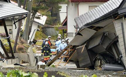 Buildings collapsed from a strong earthquake in Hakuba, Nagano prefecture in Japan