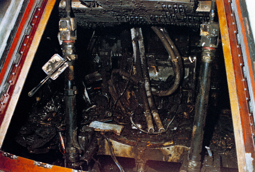 Charred remains of cabin of Apollo 1