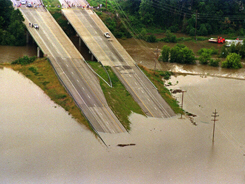 Chesterfield, Mo.: Highway 40 which heads west from St.  Louis shown in a file photo dated July 31, 1993 flooded as it heads into the Chesterfield Valley in Missouri. -- PETER NEWCOMB/AFP/Getty Images