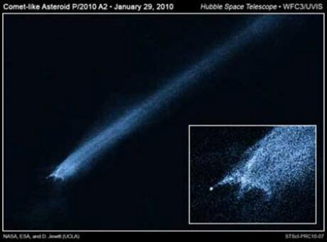 Comet P/2010 A2 may be a fragment of larger comet that destroyed the dinosaurs