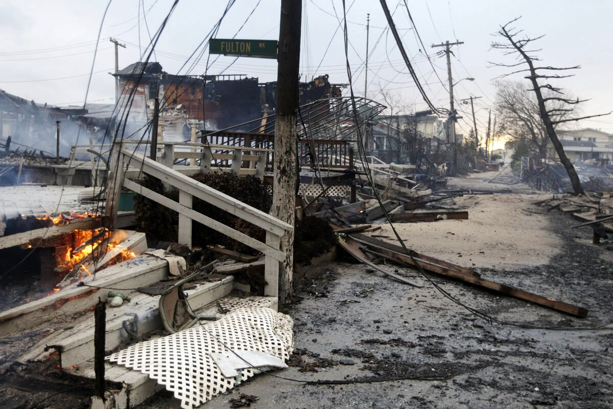 Damage caused by a fire at Breezy Point