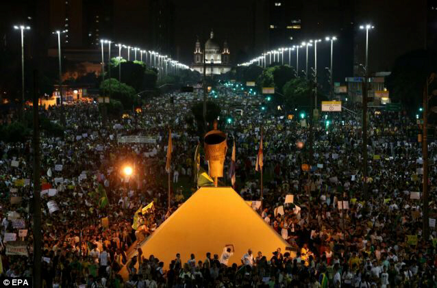 A million demonstrators gather during a protest in Rio de Janeiro. Pope Francis is scheduled to visit Rio next month.