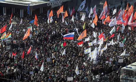 Demonstrators protest against Vladimir Putin in Moscow. Photograph: Maxim Shipenkov/EPA