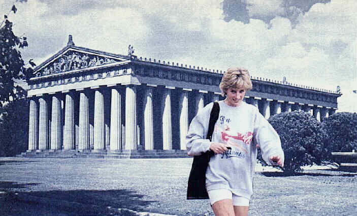 Collage: Diana in sporting attire walking past temple