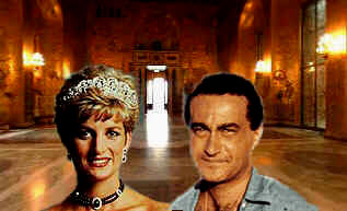Diana and Dodi in the Hall of Death (collage by Michael McClellan, C 2003)