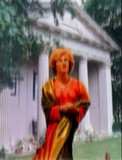Diana's apparition at her island grave at Althorp (collage and graphics effects by Michael McClellan, C 2003)