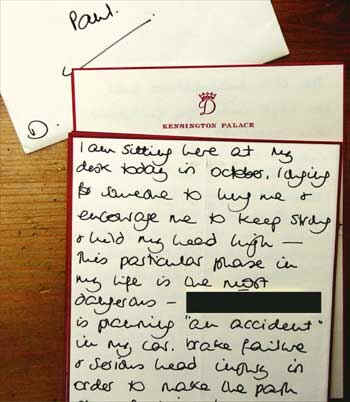 Diana's handwritten letter to Paul Burrell