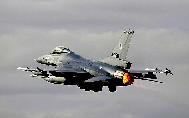 Dutch F-16s taking part in Nato's Baltic Air policing mission