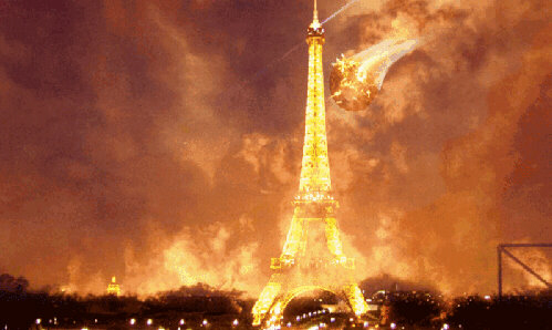 Eiffel tower burns as Paris is nuked during total eclipse of the sun