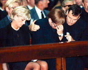 Diana and Elton John at Versace's funeral in Milan