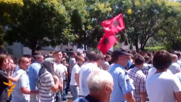 Ethnic Albanians in Macedonia protesting