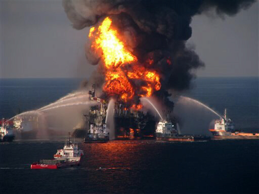 Fire boat response crews battle the blazing remnants of oil rig Deepwater Horizon